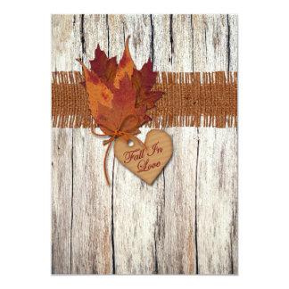 FAUX Burlap, Wood, Leaves, Heart Wedding Invite