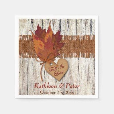 FAUX Burlap, Wood, Leaves, Heart Wedding Napkins