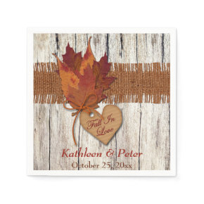 FAUX Burlap, Wood, Leaves, Heart Wedding Napkins Standard Cocktail Napkin