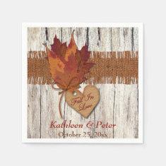 FAUX Burlap, Wood, Leaves, Heart Wedding Napkins Paper Napkins