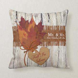 FAUX Burlap, Wood, Leaves Heart Wedding Pillow