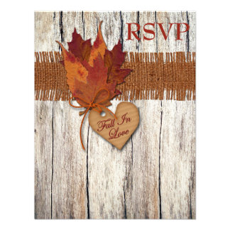 FAUX Burlap Wood Leaves Heart Wedding Reply Card