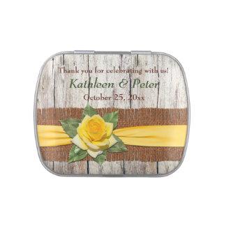FAUX Burlap, Wood, Yellow Rose Favor Candy Tin
