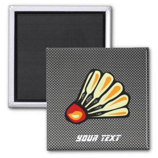 Faux Carbon Fiber Badminton 2 Inch Square Magnet