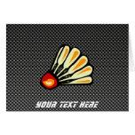 Faux Carbon Fiber Badminton Greeting Card