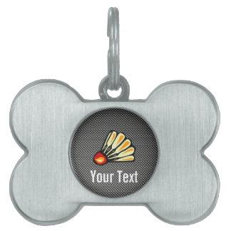 Faux Carbon Fiber Badminton Pet ID Tag