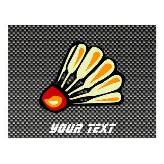 Faux Carbon Fiber Badminton Postcard