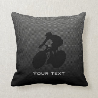 Faux Carbon Fiber Cycling Throw Pillow