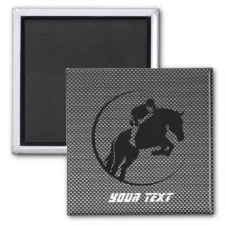 Faux Carbon Fiber Equestrian 2 Inch Square Magnet