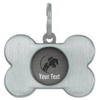 Faux Carbon Fiber Equestrian Pet Name Tags