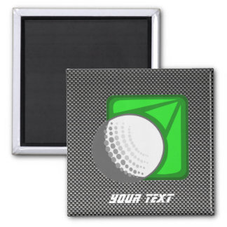 Faux Carbon Fiber Golf Ball 2 Inch Square Magnet