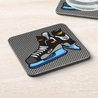 Faux Carbon Fiber Hockey Skates Beverage Coaster
