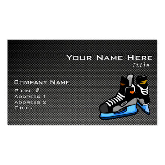 Faux Carbon Fiber Hockey Skates Double-Sided Standard Business Cards (Pack Of 100)