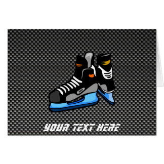 Faux Carbon Fiber Hockey Skates Greeting Cards