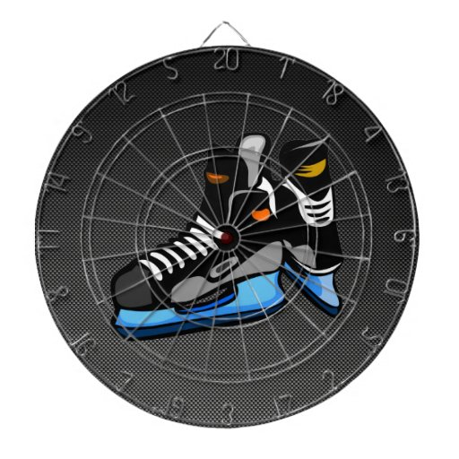 Faux Carbon Fiber Hockey Skates Dart Board