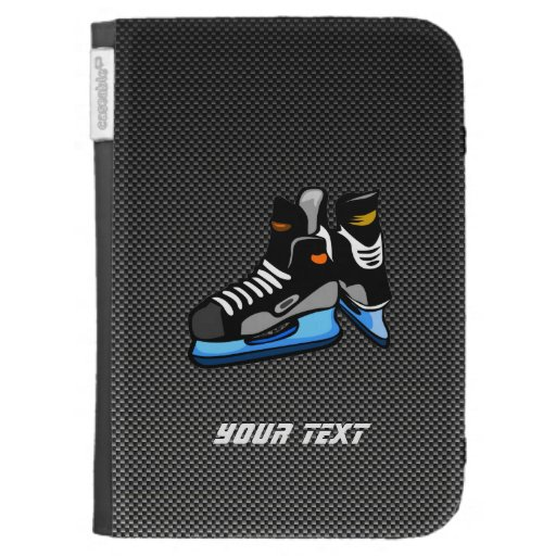 Faux Carbon Fiber Hockey Skates Kindle Keyboard Covers