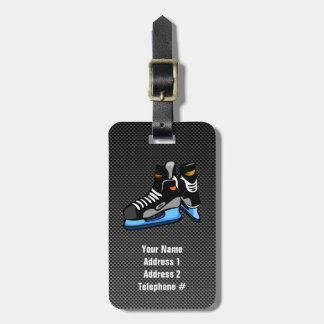 Faux Carbon Fiber Hockey Skates Tags For Bags