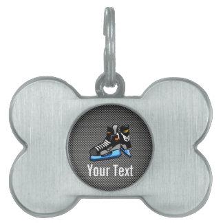 Faux Carbon Fiber Hockey Skates Pet Name Tags