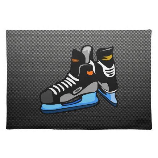 Faux Carbon Fiber Hockey Skates Place Mat