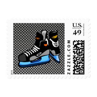 Faux Carbon Fiber Hockey Skates Postage Stamp