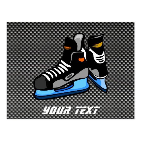 Faux Carbon Fiber Hockey Skates Postcard