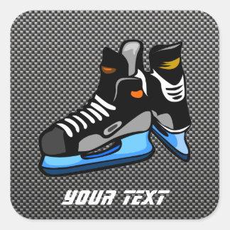 Faux Carbon Fiber Hockey Skates Square Sticker