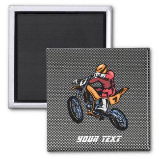 Faux Carbon Fiber Motocross 2 Inch Square Magnet