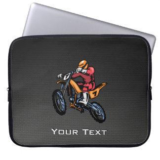 Faux Carbon Fiber Motocross Laptop Computer Sleeve
