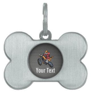 Faux Carbon Fiber Motocross Pet ID Tag