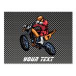 Faux Carbon Fiber Motocross Post Card