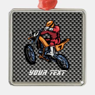 Faux Carbon Fiber Motocross Square Metal Christmas Ornament