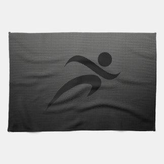 Faux Carbon Fiber; Running Hand Towel