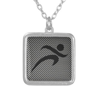 Faux Carbon Fiber; Running Square Pendant Necklace