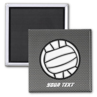 Faux Carbon Fiber Volleyball 2 Inch Square Magnet