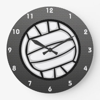 Faux Carbon Fiber Volleyball Large Clock