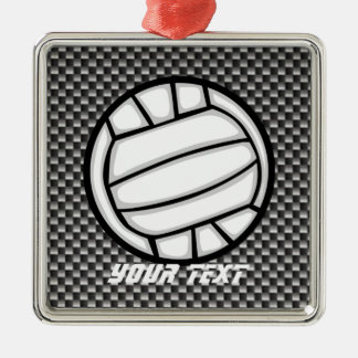Faux Carbon Fiber Volleyball Square Metal Christmas Ornament