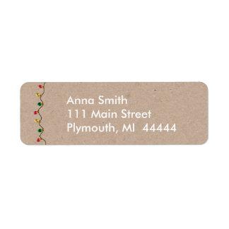 Faux Cardboard Christmas Light Address Label