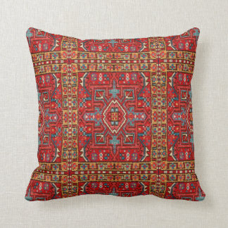 Faux Carpet Repeat Print Section Of Oriental Rug Throw Pillow