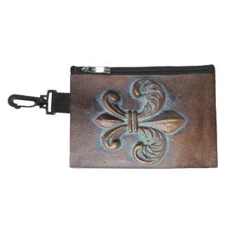 Faux Cast Metal-Look Fleur de Lis Accessory Bag