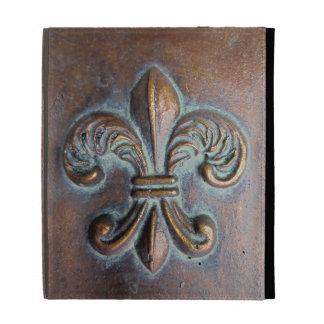 Faux Cast Metal-Look Fleur de Lis iPad Folio Case