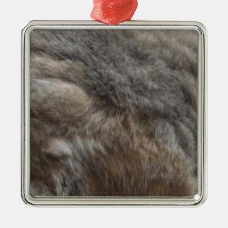 Faux Cat Fur look Metal Ornament