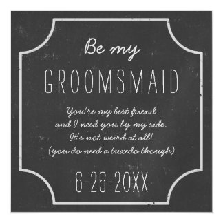 Faux Chalkboard Framed Be My Groomsmaid Request Magnetic Card