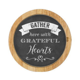 FAUX Chalkboard Grateful Hearts Cheese Board Round Cheese Board