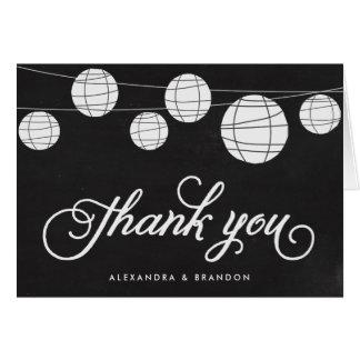 Faux Chalkboard Hanging Lanterns Rustic Thank You Card