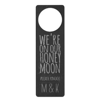 "Faux Chalkboard ""On Our Honeymoon"" Door Hanger"