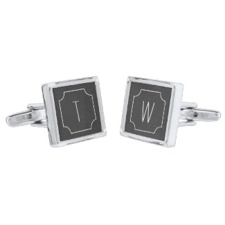 Faux Chalkboard Silver Plated Square Cufflinks