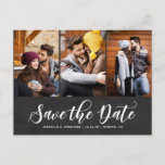 """Faux Chalkboard Three Photo Collage Save the Date Announcement Postcard<br><div class=""""desc"""">Announce your wedding day with this country rustic three-photo collage save the date postcard. This customizable photo postcard features white modern calligraphy overlay with faux chalkboard background. This design is also available in other cards and colors.</div>"""