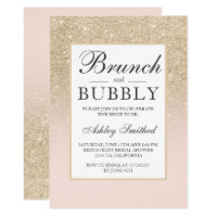 Faux champagne glitter brunch bubbly bridal shower invitation