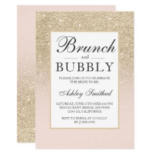 2af19c347fd Faux champagne glitter brunch bubbly bridal shower invitation