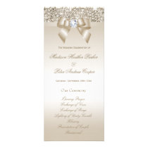 Faux Champagne Sequins Diamond Bow Wedding Program